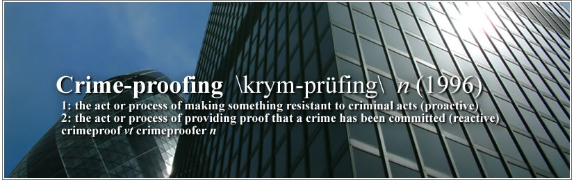 Crime-proofing \krym-prüfing\ n (1996) 1: the act or process of making something resistant to criminal acts (proactive) 2: the act or process of providing proof that a crime has been committed (reactive)  –  crimeproof vt  crimeproofer n